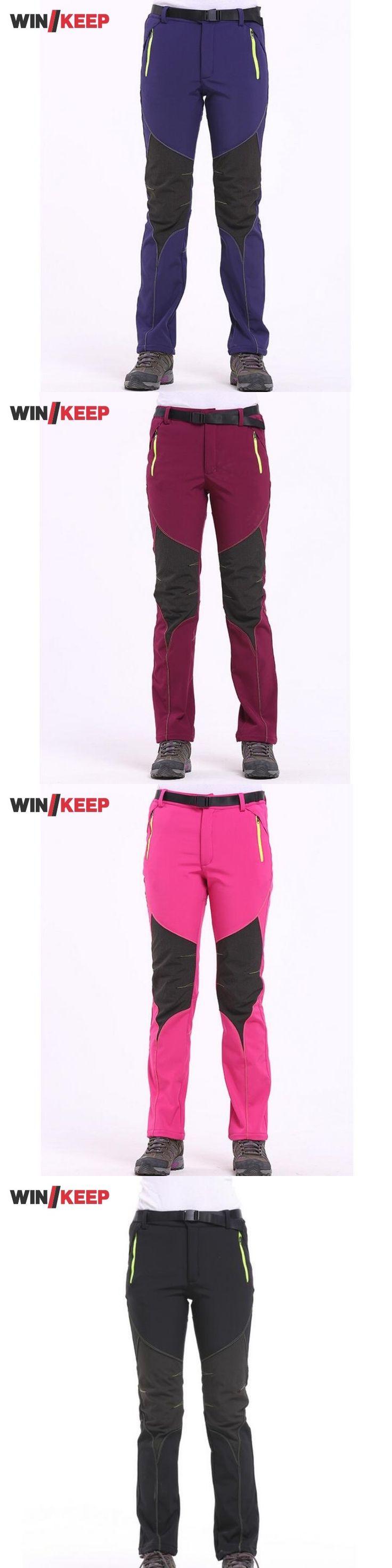Climbing Women Hiking Pants Softshell Velvet Warm Trousers For Women Outdoor Patchwork Feminino Sports Pants Windbreaker Trouser
