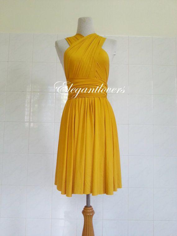 Pretty in a foresty environment @Kayla Wotton Oneill  Golden Yellow Wedding Dress Bridesmaid Dress by Elegantlovers