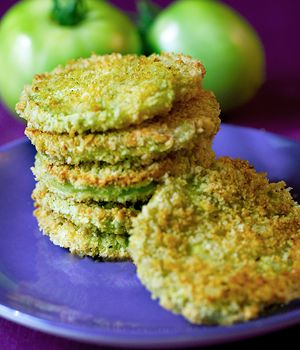 Baked Green Tomatoes. #vegan A baked, vegan and lower fat version of the classic southern dish, fried green tomatoes. From myvegancookbook.com