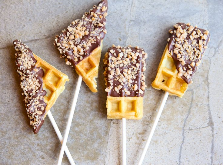 Chocolate Toffee Waffles On-A-Stick