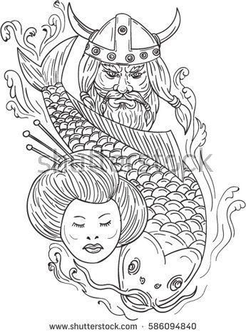 Sketch of a head of a norseman viking warrior wearing horned helmet with beard, koi carp fish diving and geisha girl isolated on white background.   #viking #koi #geisha #drawing #illustration