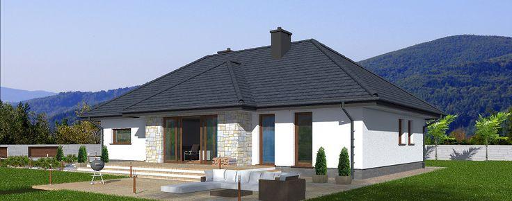 Projekt domu Genewa. Dom parterowy o powierzchni użytkowej 102,8 m2 z tarasem i mieszczącym jeden samochód garażem.