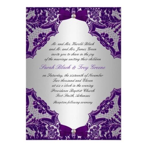 Purple and Silver Wedding Invitation