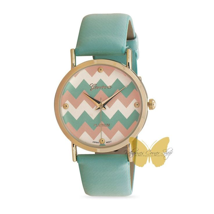 Chevron Pink and Green Watch