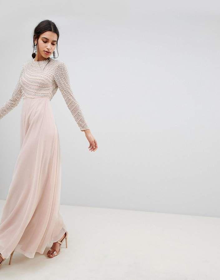 b29bb57fab91 ASOS DESIGN Premium Pearl Embellished Long Sleeve Maxi Dress ...
