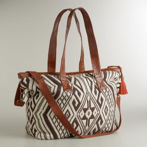 One of my favorite discoveries at WorldMarket.com: Brown and Ivory Large Aztec Bag