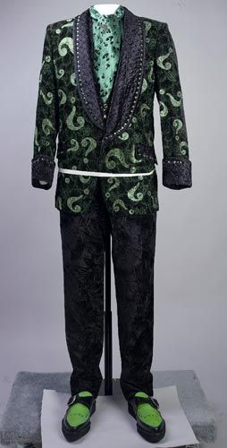 Riddler costume worn by Jim Carrey in the film Batman Forever (1995 ...