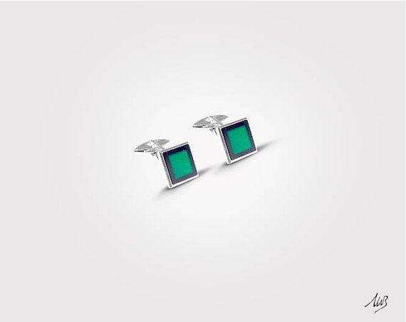 Silver Cufflinks Green Agate in Onyx Frame 925 Sterling