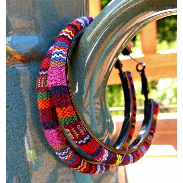 Fabric and metal hoop earrings by McKee Jewelry Designs