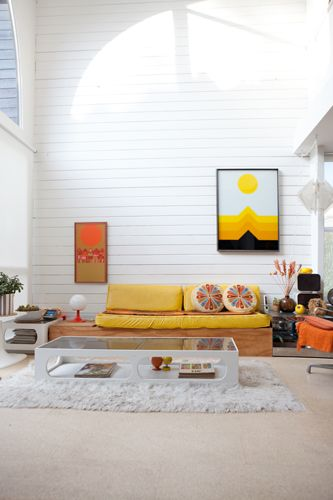 LOVE the yellow couch + light + ample white space