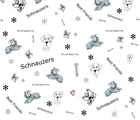 Schauzer best friends fabric by forestwooddesigns on Spoonflower - custom fabric
