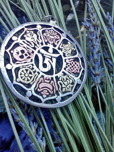 Carved Tibetan Eight Auspicious Symbols Amulet | TADASANA GOATS ...