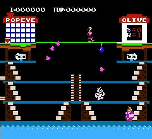 Popeye video game! played this all of the time with my BFF at the Roll-a-way skating rink in the early 80's--tlc