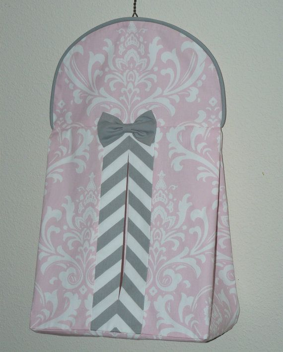 Diaper Stacker Light Baby Pink  Gray by CustomBabyCreations