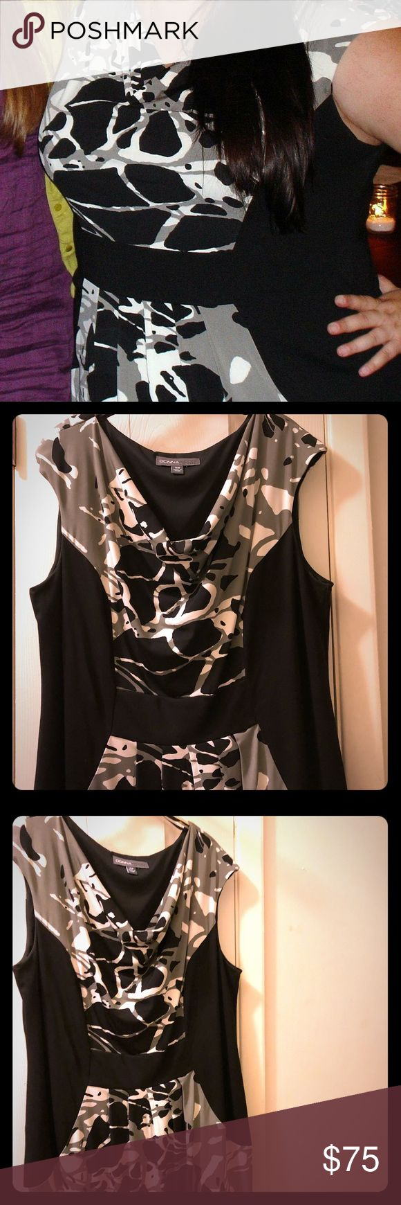 Like new Donna Ricco plus size dress- sheath 16W Donna Rocco New York like new (worn once) dress. Size 16W, plus. Gray, black, white print. Black color blocking. Pullover sheath. Donna Ricco Dresses