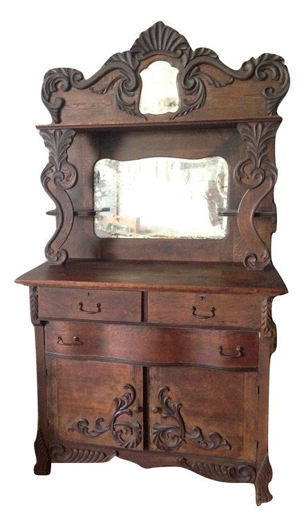 Vintage 1800s Wood Mirror Sideboard Buffet —