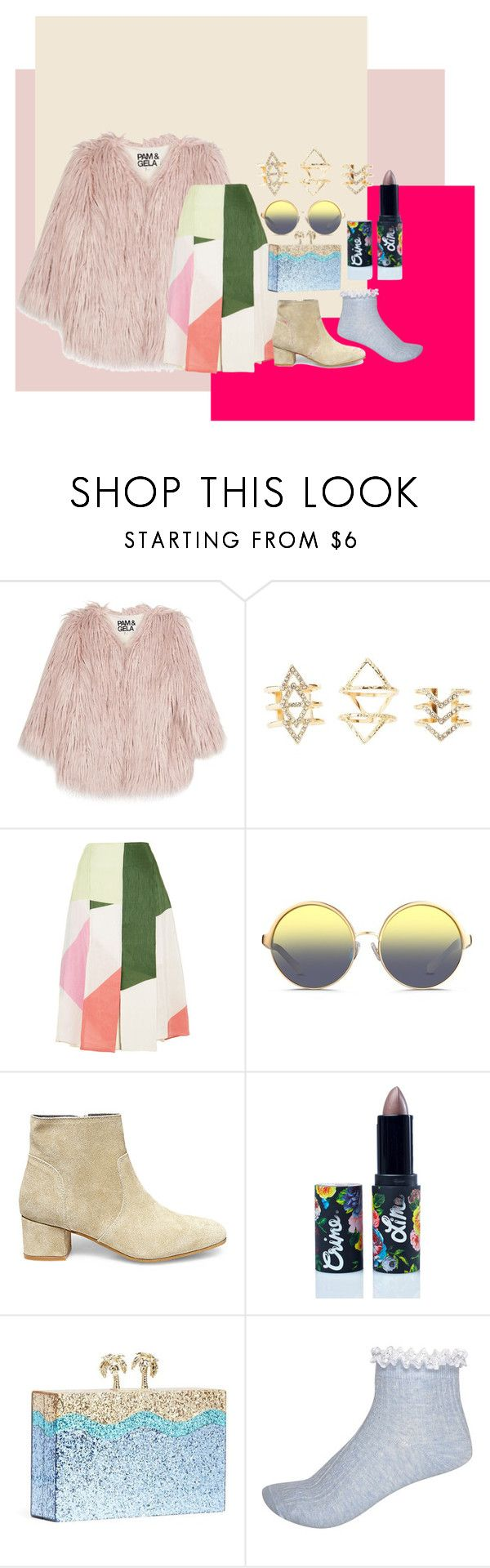 """fluffy fluffy"" by nadyashafirah on Polyvore featuring Pam & Gela, Charlotte Russe, TIBI, Matthew Williamson, Steve Madden, Lime Crime, Kate Spade and River Island"