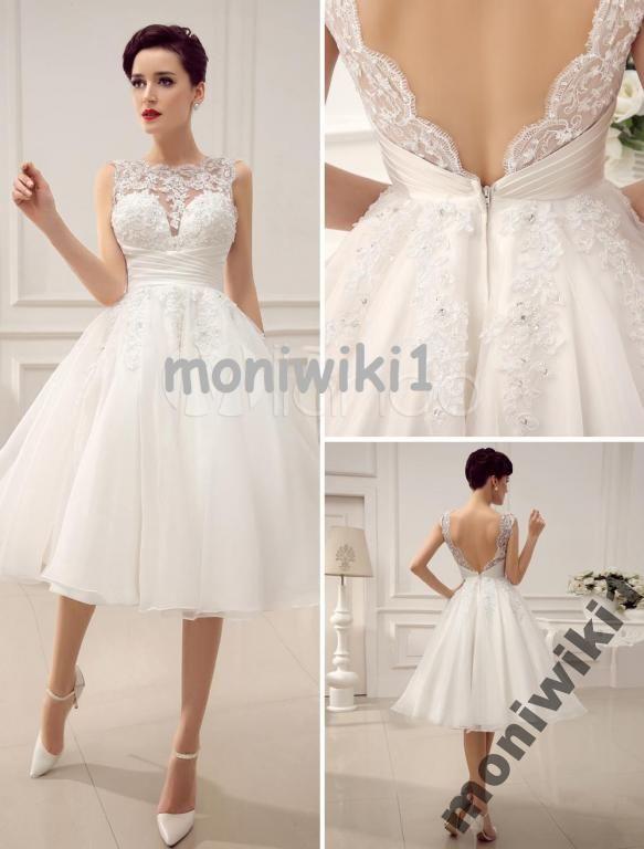 Piękna Suknia Ślubna  SATYNA ORGANZA Krótka GRATIS