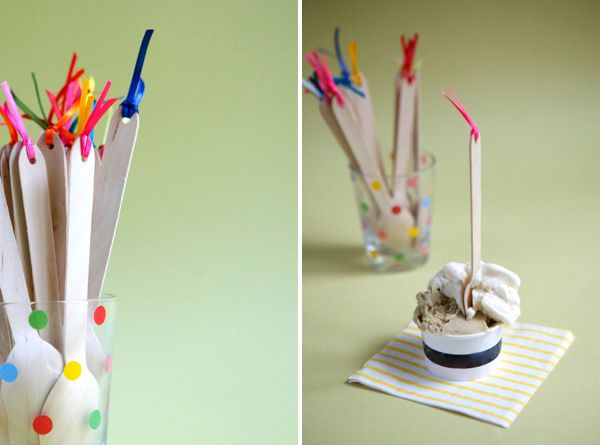 DIY Wooden Spoon Flags by ohhappyday and other party ideas