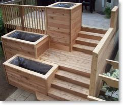 Deck with built in sections for herbs, veggies, flowers, etc
