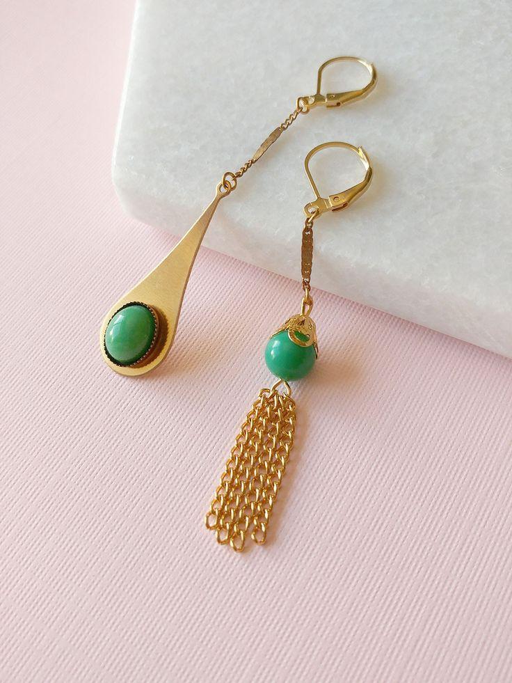 Martha III Earrings by Sandrine Devost      #asymmetricalearrings #greenearrings #goldearrings #tasselearrings #mismatched #asymetric