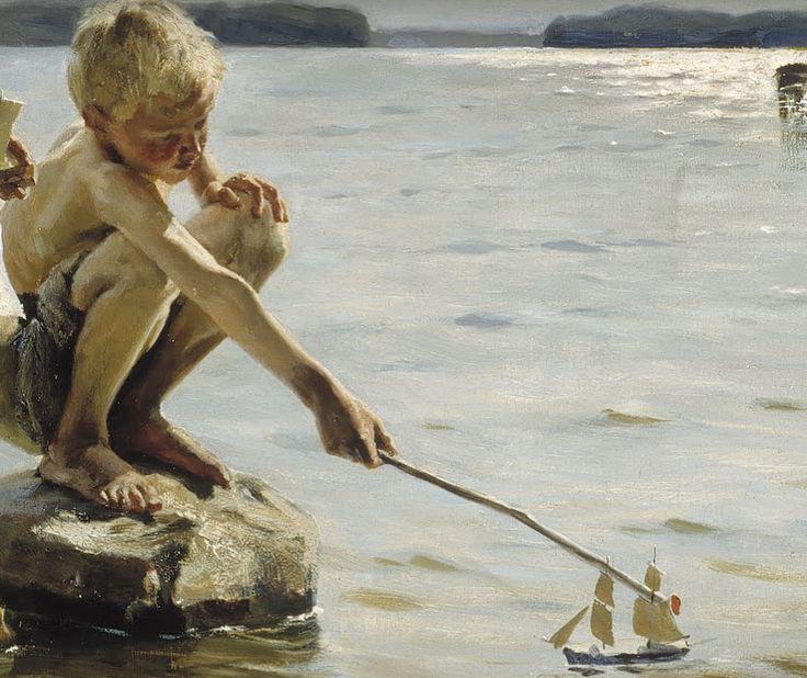 hansolospants:  Albert Edelfelt, Boys Playing on the Shore (detail), 1884 [x]