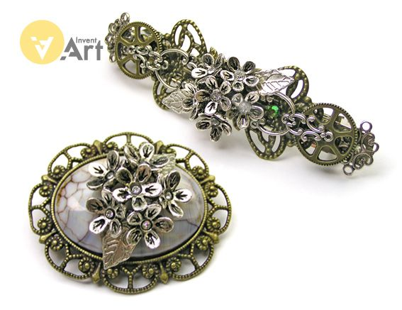 Stone Flower set  by Invent-Art (hair clipp and brooch with agate stone)