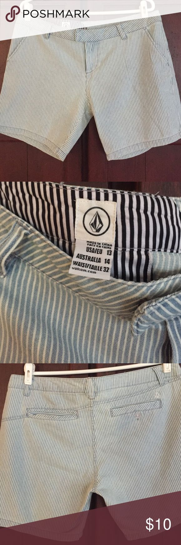 Volcom juniors shorts Blue and white striped volcom shorts. Never worn. Volcom Shorts