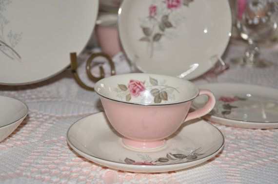 48 PC Set of TST Vintage Pink Shabby Rose Bridal China by MosaicChinaCabinet, $149.00