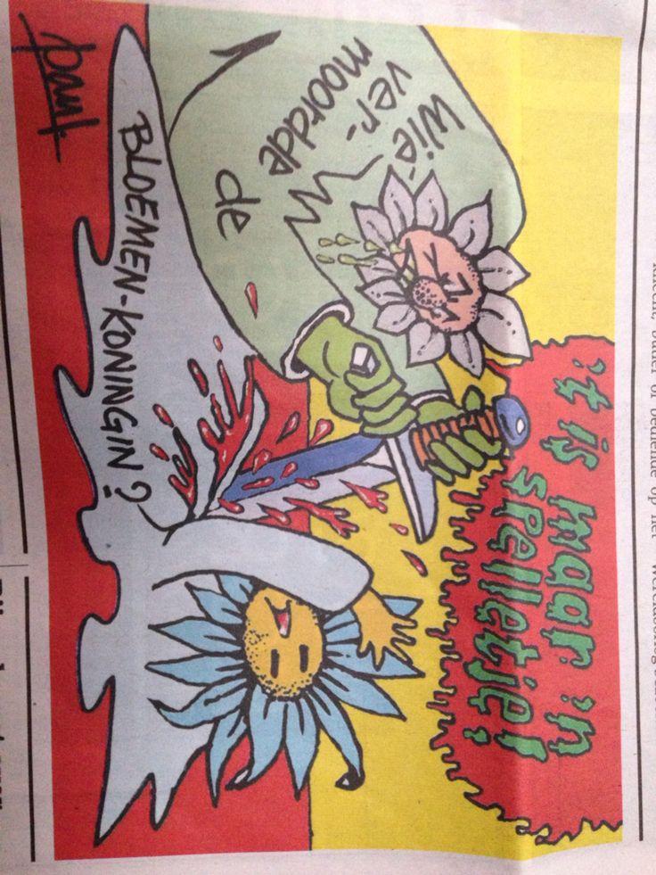 Cartoon over moorddiner van @uniekspel
