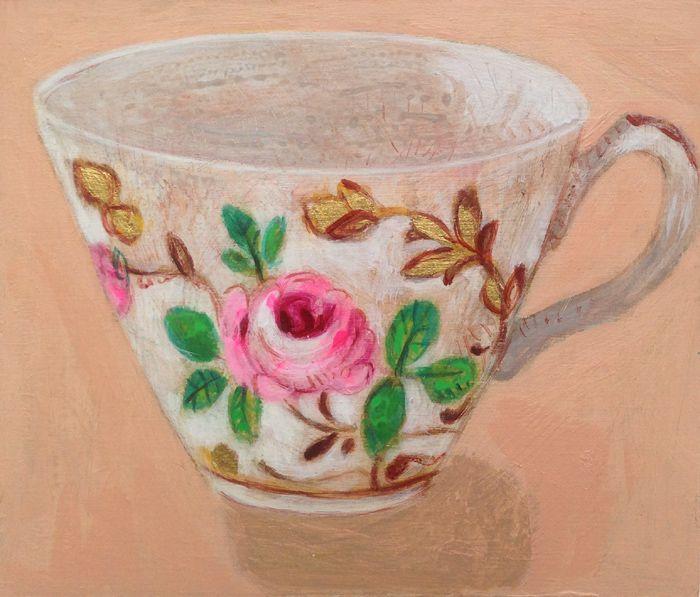 Andrea Letterie, Sweet Rose, Gemengde techniek op hout, 12x11 cm, €.150,-