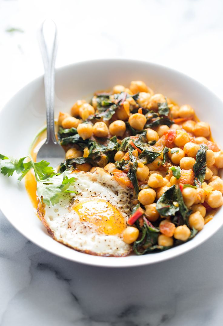 chickpea skillet with tomato and swiss chard