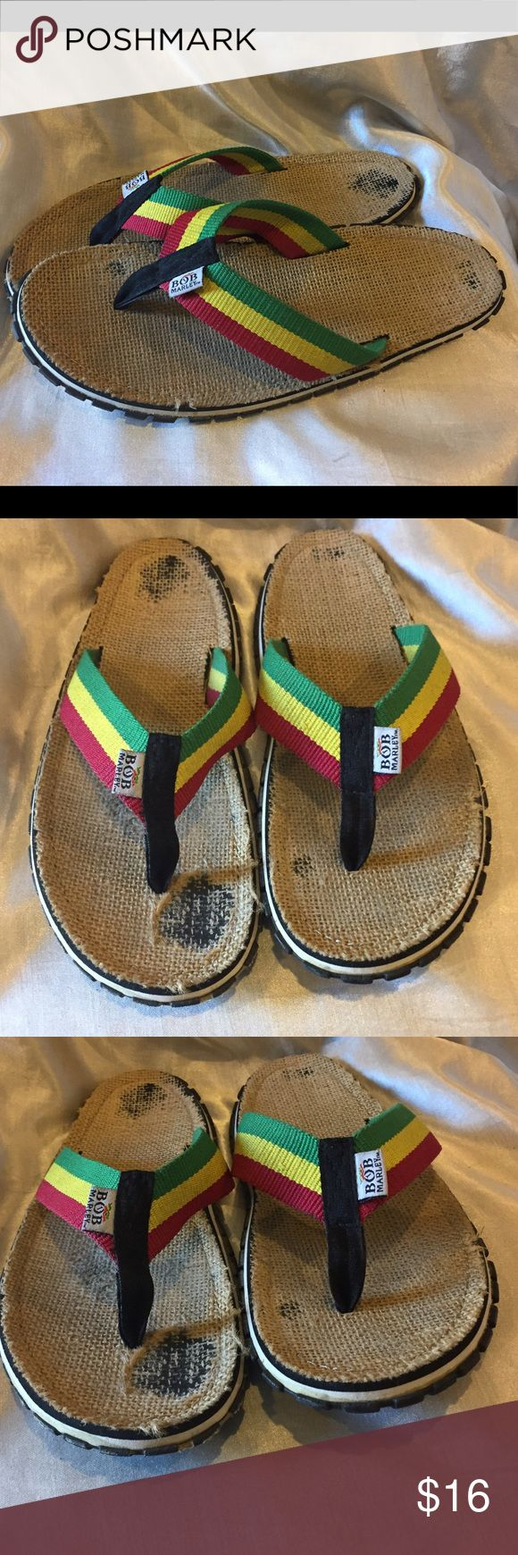 Bob Marley green yellow red flip flops size 10 Bob Marley green yellow red flip flops Classic Earthy look Shoes have been worn looks great on Please see pictures for details of wear Bob Marley Shoes Sandals & Flip-Flops