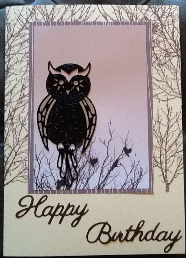 Birthday card using tattered lace owl and tree stamps