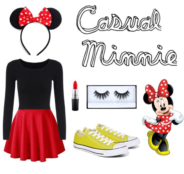Diy Halloween costume! Casual Halloween costume for girls! Minnie Mouse costume! Casual Minnie Mouse. Red skirt, yellow converse, and of course Minnie ears!