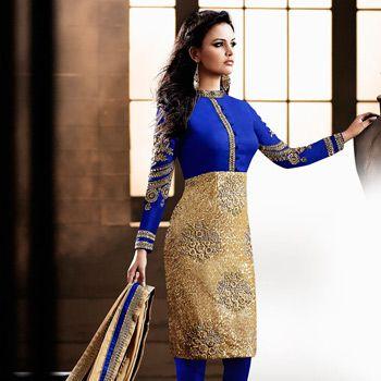 Beige and Blue Art Silk and Net #ChuridarKameez