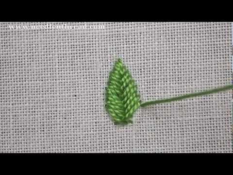 I ❤ embroidery . . . Fishbone Stitch Video Tutorial~ The fishbone stitch is an easy hand embroidery stitch that works great for creating filled leaves and petal shapes. You can use the stitch for other applications, too, but the fishbone stitch is most often seen as a filling for leaves. This is because it creates a satin-stitch-like filling, with a natural spine down the center. The thread used for that leaf is cotton floche, a wonderfully soft hand embroidery thread.