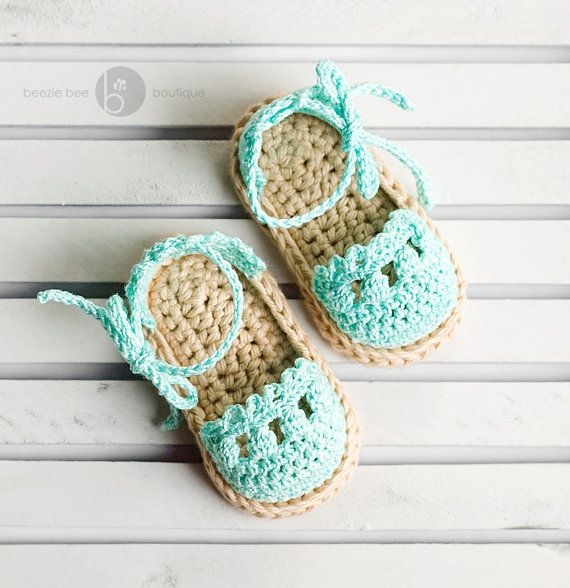 Crochet Baby Espadrille Sandals  06 months  Light by beeziebee, $ 16.00  Hands down the cutest crochet baby shoes I've ever seen ...