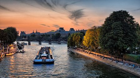 Boat trip along the River Seine in Paris, France