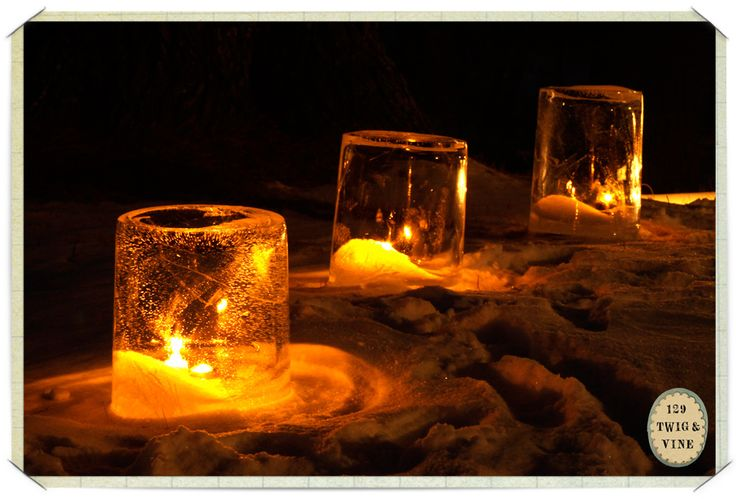 Ice Lanterns: All you need is a five gallon bucket, water, and below-freezing outdoor temperatures. (You can also make them in smaller heavy plastic buckets.)