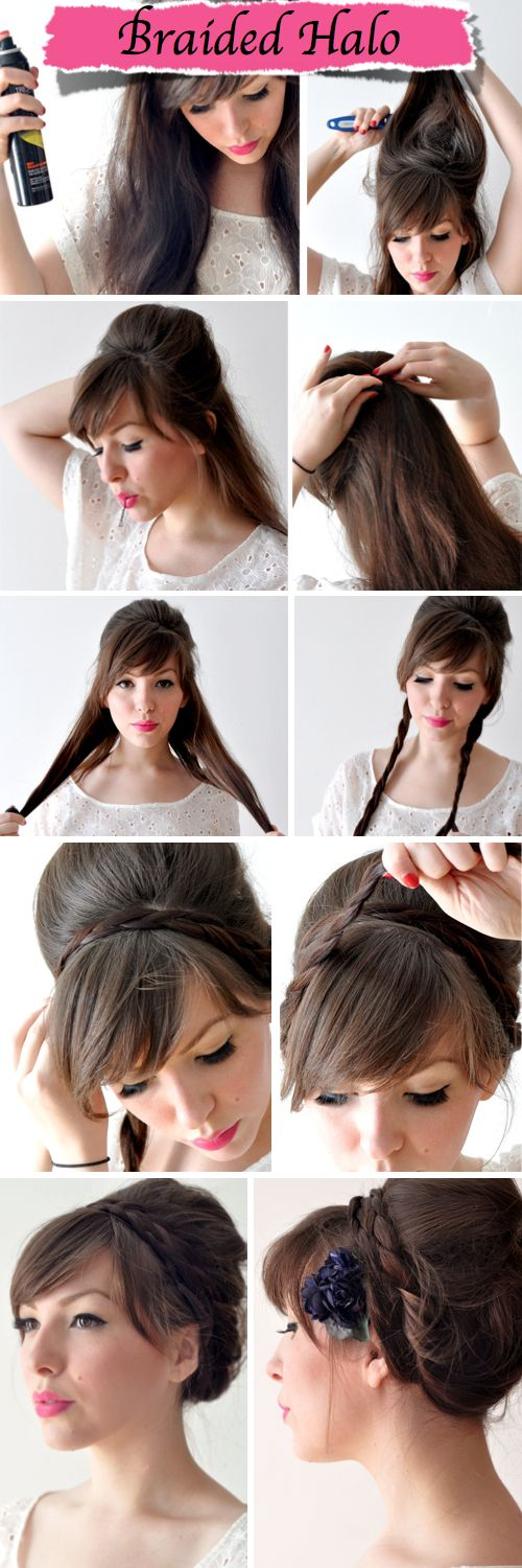 Easy Braided Halo Hairstyle - Wedding Ideas, Wedding Trends, and Wedding Galleries
