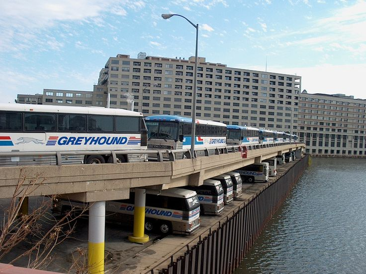 Greyhound Chicago bus garage on Goose Island. It used to be a sea of red, white blue back in the good 'ol days!