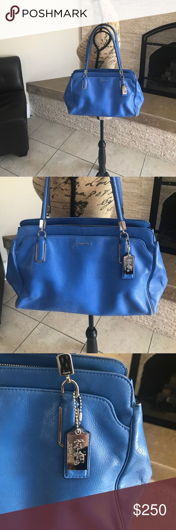 coach leather handbag COACH // cobalt blue beautiful Italian leather handbag // silver hardware // dustbag included // no feet on bottom // staining and wear as shown in photos on interiors, and corners/ straps - this is a GORGEOUS high end bag, purchased directly from website originally, the price reflects wear- bundle for 20% off! Coach Bags Shoulder Bags