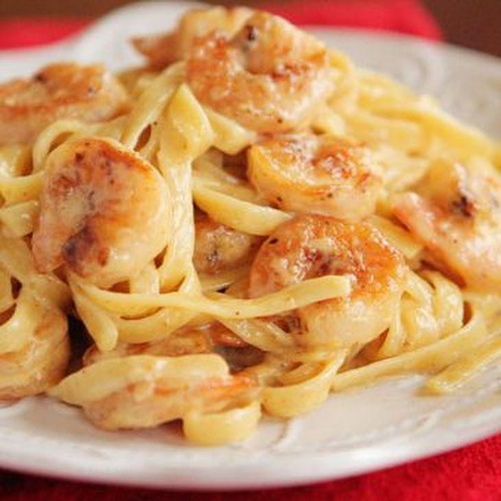 Crispy Shrimp Pasta Recipe Main Dishes with fettuccine pasta, shrimp, kosher salt, freshly ground pepper, flour, olive oil, butter, low sodium chicken broth, whipping cream, cajun seasoning