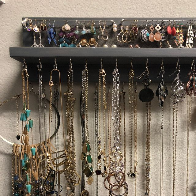 14 Gray Jewelry Organizer Necklace Holder With Silver Etsy Rustic Organization Wall