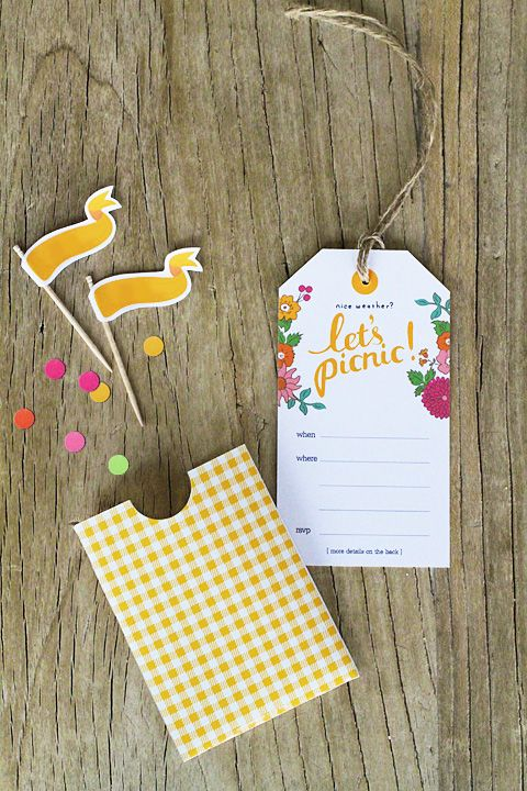 ,,Let's picnic!'' invitation cards