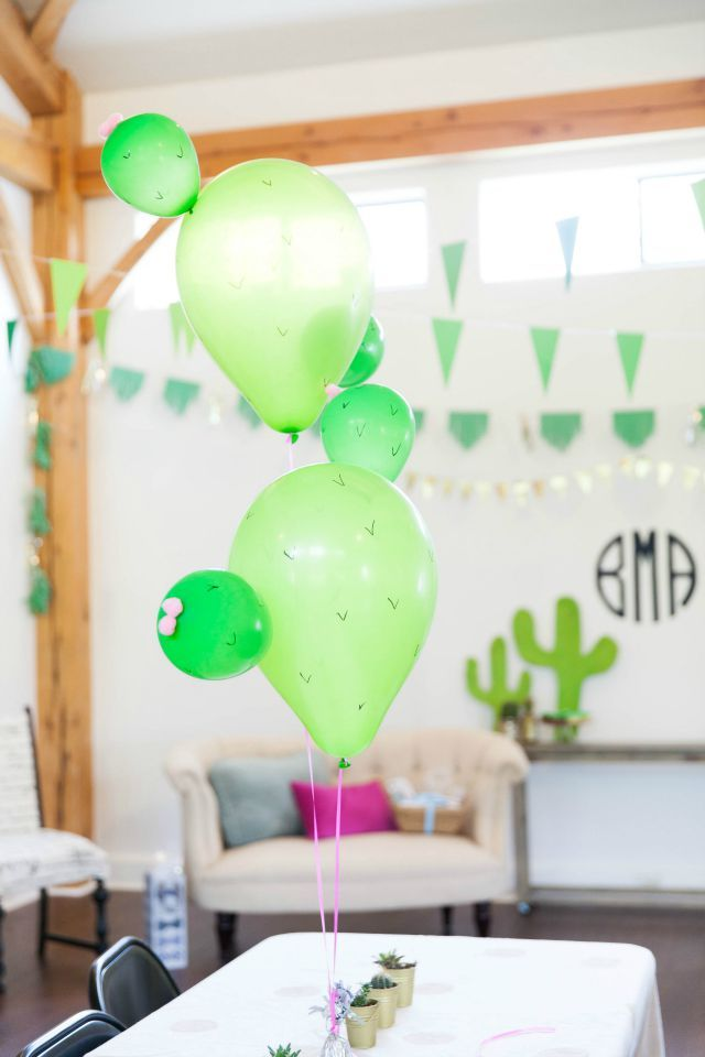 Cactus balloons for a cactus themed baby shower.
