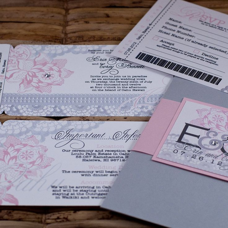 destination wedding invitation rsvp date%0A Boarding Pass Invitation or Save the Date  Pink and Silver Lace Flowers    Deposit and Design Fee