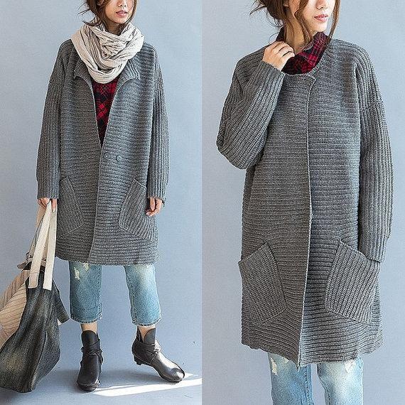 Womens Long Hand Knit Coat 46F