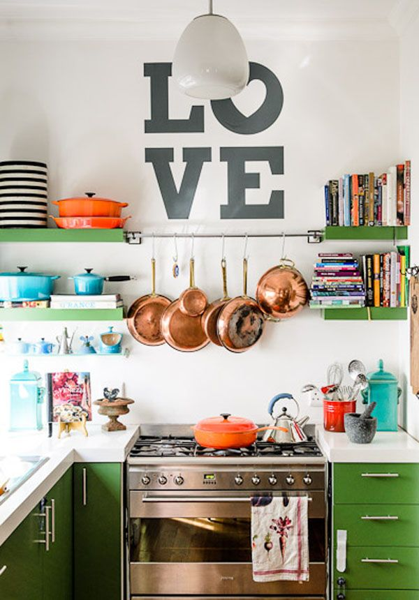 Cookbooks on open shelves in the kitchen. Oh So Lovely Vintage: inspiring homes